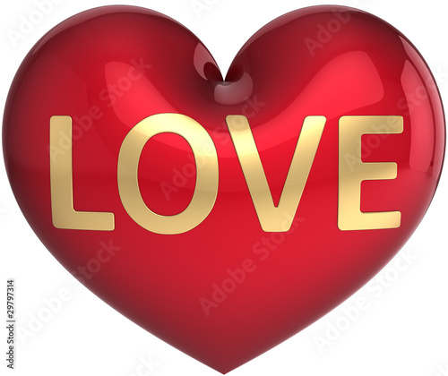 Heart sweetheart icon decorated with golden Love word\