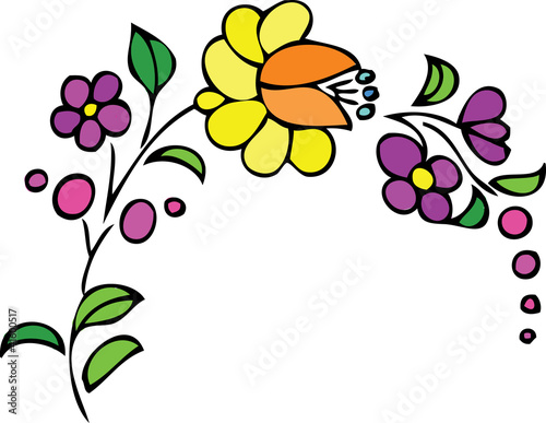 Yellow and purple flowers floral design pattern\