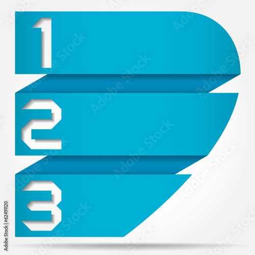 3d Vector Origami Style Numbered Banner Template Half Heart\