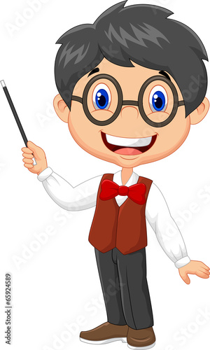 Cartoon boy teaching\