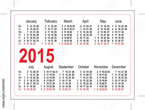 Template pocket calendar 2015\