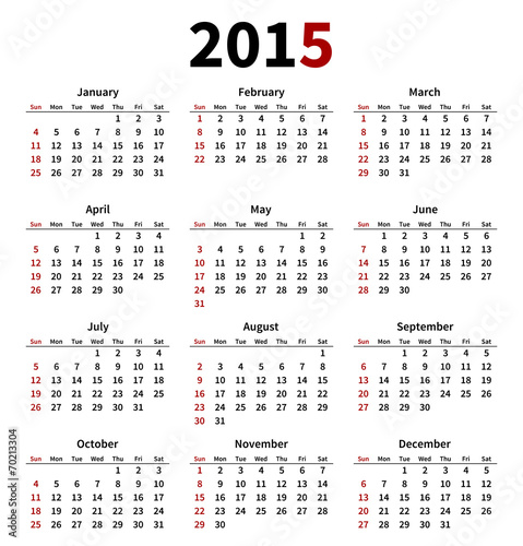 Simple 2015 year calendar on white background\