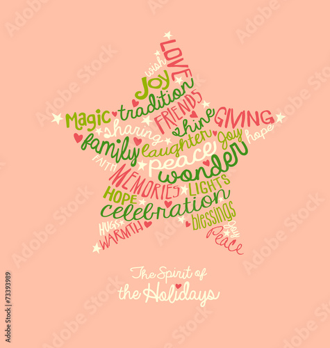 Handwritten Christmas star card Word Cloud design\