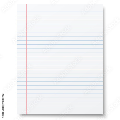 Notebook lined paper background isolated\
