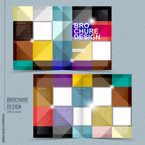 colorful geometric style half-fold brochure template\
