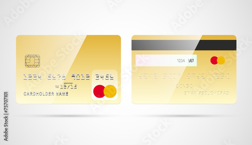 Blank gold debit or credit card template with chip vector\