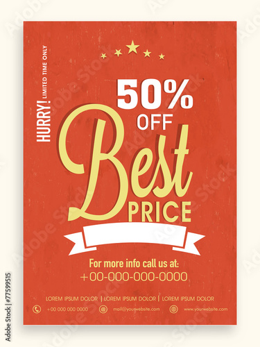 Sale flyer, template or brochure design with 50 discount offer - discount flyer template