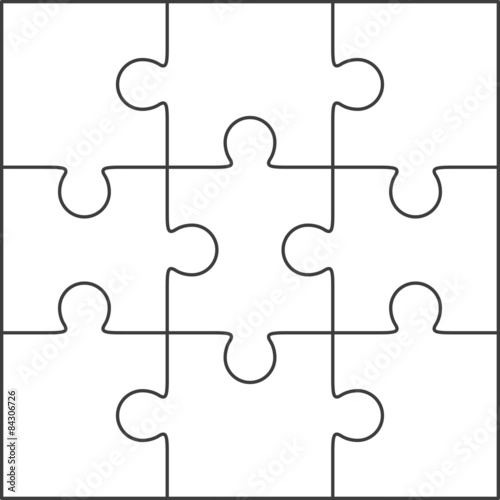Jigsaw puzzle blank template 3x3\ - blank puzzle template