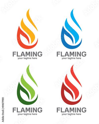 Flame logo template Oil and gas logo vector Fire vector design - flame logo