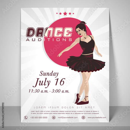 Flyer, template and brochure for dance audition\ - auditions flyer template