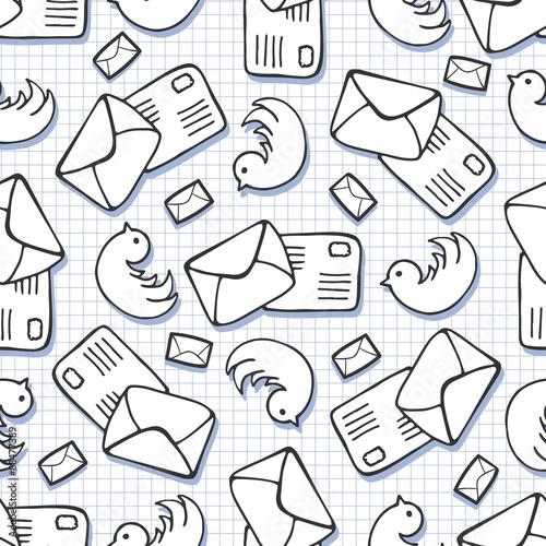 Twitter background Doodle birds and letter mail seamless pattern