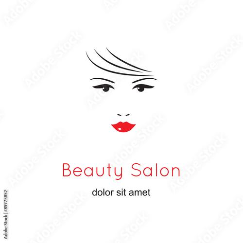Beautiful woman\u0027s face on white background Beauty logo template