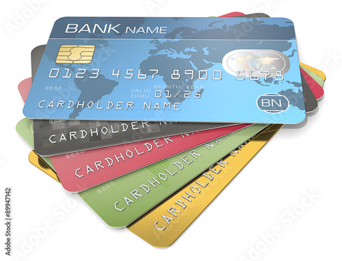 Credit Cards Pile of 5 Credit Cards Blue, black red, green and