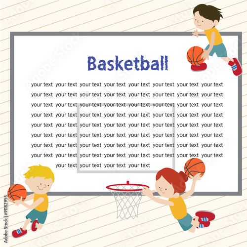 A template of a backboard with three kids playing basketball\