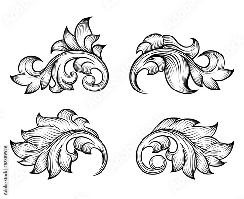 Vintage baroque scroll leaf set in engraving style\ - baroque scroll designs