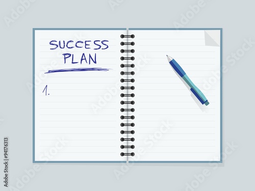 Lined paper notebook and pen Creating strategy for personal success
