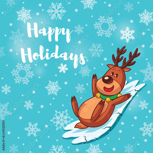 Happy Holidays card with cute cartoon deer\ - free images happy holidays