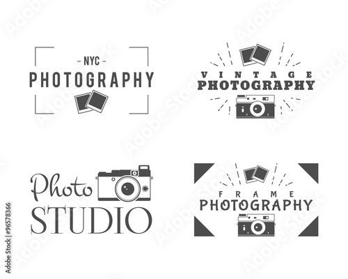 Retro Photography Badges, Labels Monochrome design with stylish old