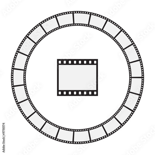 Round Film Strip Frame and Patterned Brush - Isolated Illustration