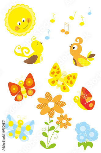 set of cute cartoon spring nature elements with birds, flowers, sun