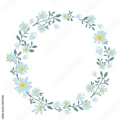 Hand drawn spring wreath with camomile flowers Round frame for - frame for cards