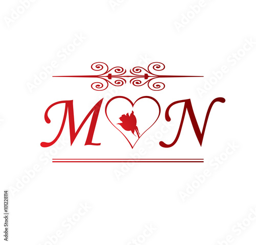 Cute Wallpapers First Initial Letter A Quot Mn Love Initial With Red Heart And Rose Quot Stock Image And