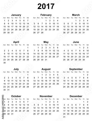 simple editable vector calendar 2017 on white background sunday