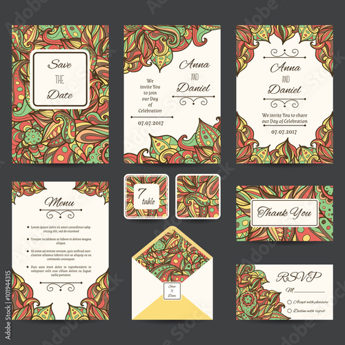 Full vector paisley wedding templates perfect for romantic design