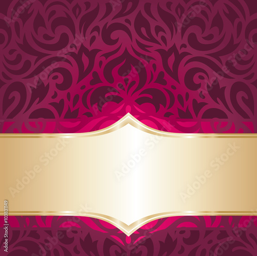 floral red and gold luxury vintage decorative invitation wallpaper