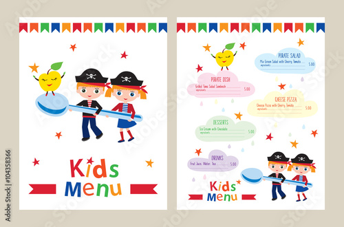 Kids menu vector template Kids menu for a pirate birthday party