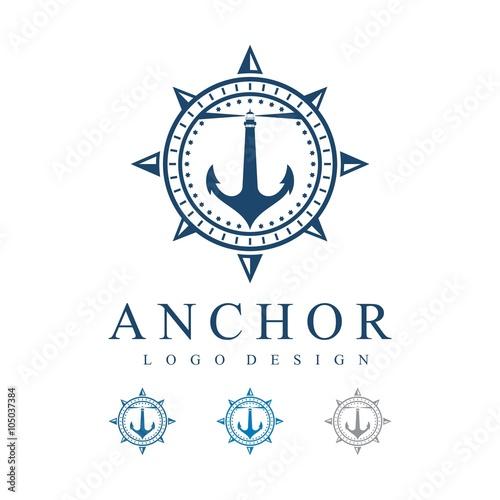 Lighthouse Anchor Compass Design Logo\