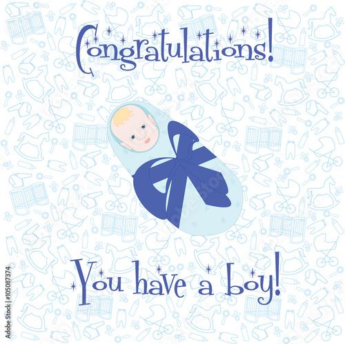 Postcard Congratulations! You have a boy Little newborn baby boy