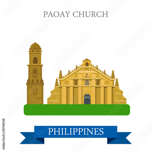 Paoay Church Philippines vector flat attraction sightseeing\