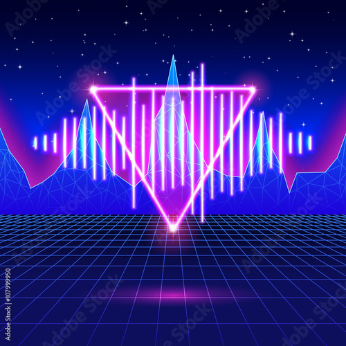 3d Moving Wallpapers City Lights Quot Retro Gaming Neon Background With Shiny Music Wave Quot Stock