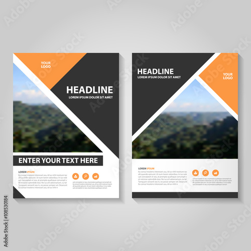 Orange black Vector business proposal Leaflet Brochure Flyer - black flyer template