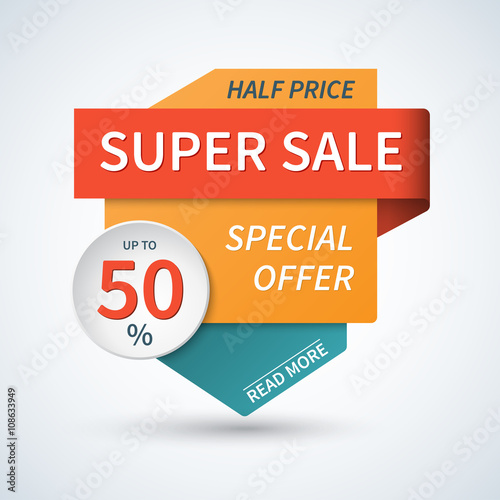 Super sale banner Sale template Special offer vector background - sale tag template