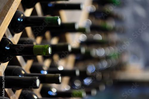 Quotwine Bottles Stacked On Wooden Racksquot Photo Libre De