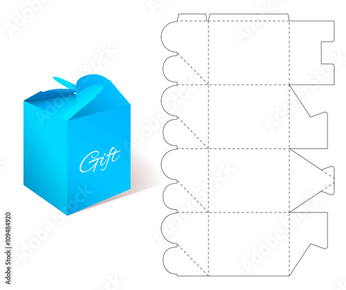 Gift Paper Box with Blueprint Template Illustration of Gift craft - gift box template free