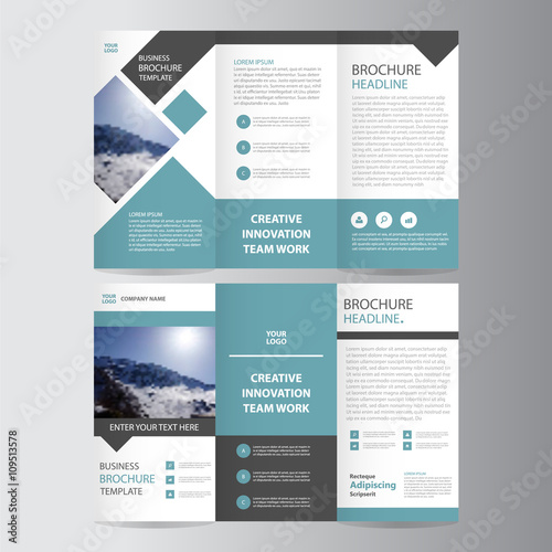 Blue square vector trifold business Leaflet Brochure Flyer template - tri fold business brochure