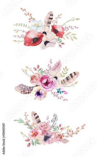 Fall Feather Wood Wallpaper Quot Watercolor Vintage Floral Bouquet Boho Spring Flowers