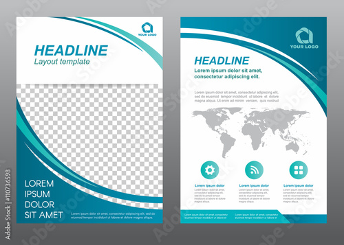 Layout flyer template size A4 cover page curve blue tone Vector