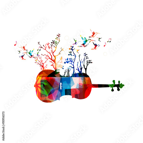 Colorful music background with violoncello and hummingbirds\