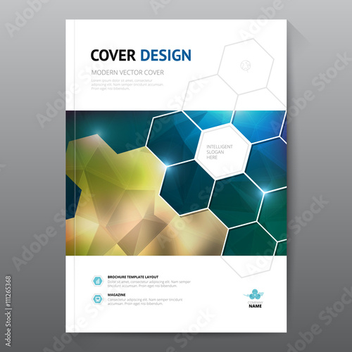 Blue annual report Leaflet Brochure Flyer template A4 size design