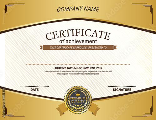 gold medal yellow frame gold background certificate template vector - gold medal templates
