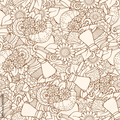 Seamless tea and coffee doodle pattern with paisley and flowers