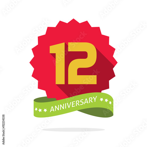 Anniversary badge with shadow on red starburst and yellow number 12