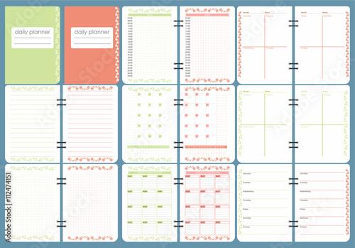 Cute Calendar Daily Planner Template Spring Season Holidays