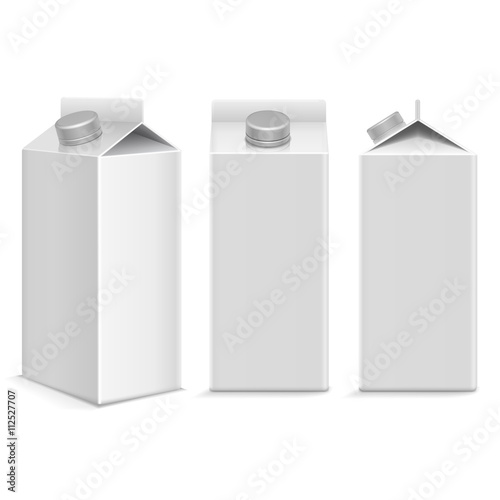 Milk And Juice White Carton Package Box In Different Points Of View