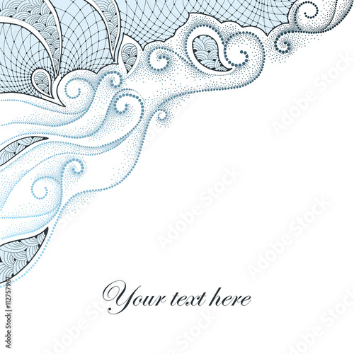 Vector background with dotted swirls and contour decorative lace in