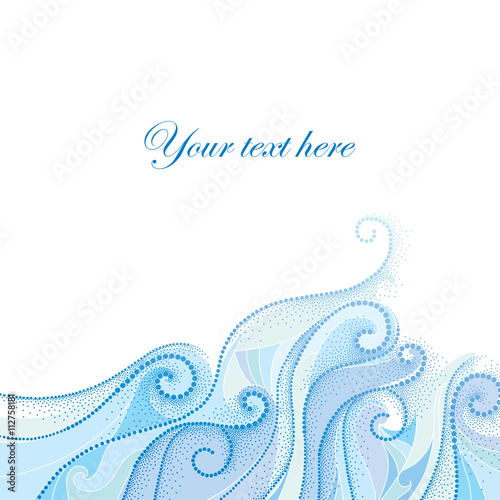 Vector background with dotted swirls and blue curly lines isolated
